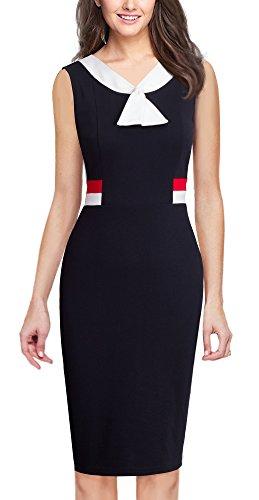 HOMEYEE Frauen elegante ärmellose Revers Hohe Taille schlanke Bodycon formale Retro Vintage Kleid B314(EU 38 = Size M,Schwarz)