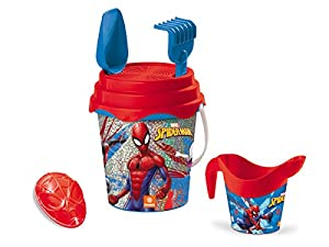 Mondo-28598 Spiderman - Set de Cubo de Playa, Color Rojo y Azul, 28598