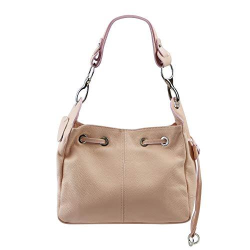SH Leder Echtleder Schultertasche Handtasche Genarbt Leder 31x25cm Anna G488 (Hell Rose) -