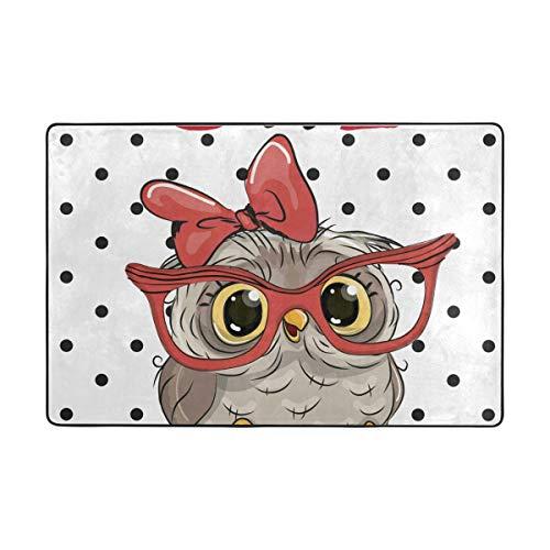FANTAZIO Teppiche, niedliche Eule mit Brille, gerade, Teppichgreifer für Ecken und Kanten, ideal für Küche/Badezimmer, Polyester, 1, 72 x 48 inch