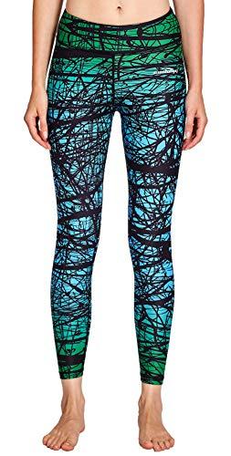 COOLOMG Damen Tights Yoga Hosen Kompression Leggings Sport Trainingshose Lang Green Forest XL