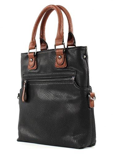 Twinbag 2in1 Damentasche S schwarz cognac