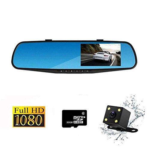 Sokache Doppelte Linse Dashcam Autokamera Video Recorder 1080P Full HD Kamera DVR Loop Aufnahme 4,3 Zoll, 32G Speicherkarte , black , right