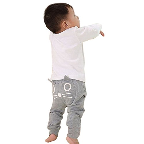 NING Cute Baby Children Kids Boys Girls Cartoon Cat Harem Pants Trousers Pants(0~3 years old ) (Size: 2 years old, Gray)