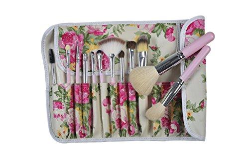 Contever® Set de Brochas de Maquillaje / Pinceles / Cepillo Cosmético 12 Piezas + Estuche Rosas