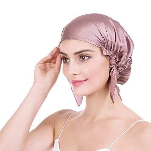 Emmet 100% Seide Schlafmütze Haarschönheit Nachtmütze Damen für Haarverlust Atmungsaktive Kappe -