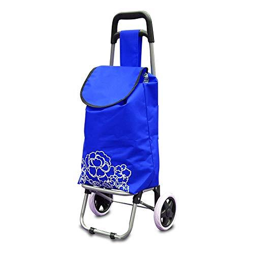 ASDFNF Warenkorb Startseite Tragbarer Gepäckwagen Klappsteig Treppenanhänger (Color : Blue)