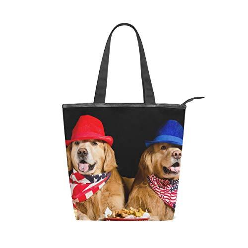 LAZEN Stilvolle Leinwand Tote Bag Handtasche 14 X 4,5 X 15 Zoll Cute Dogs Golden Retriever