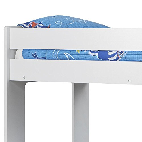 Happy Beds Bunk Bed with Trundle Guest Bed, Ellie White Wood Modern Triple Sleeper - 3ft Single (90 x 190 cm) Frame Only