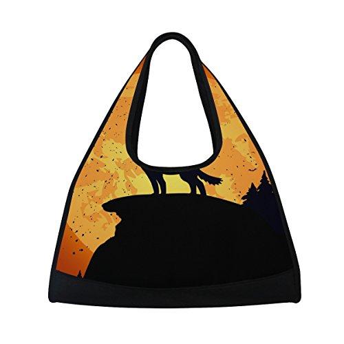 TIZORAX Halloween Hintergrund mit Wolf Duffle Reisetasche Sport Gym Bag Umhängetasche