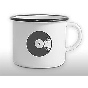 The Manufacture Vinyl Musik Schallplatte Emaille Becher Tasse als Geschenk, weiß Freund Outdoor Festival Rocker