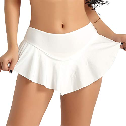 Agoky Damen Rock Mini Tanzrock mit Slip Elastischer Gummibund High Waist Faltenrock Eislauf Skater Röckchen Dancewear Beige L(Taille 74-92cm) -