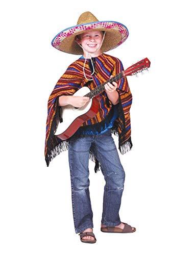 TrendClub100® Mexikaner Kostüm Poncho für Kinder - Jose Lopez - ()