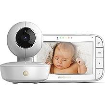 """Motorola MBP 50 - Vigilabebés vídeo con pantalla LCD a color de 5.0"""", modo eco y visión nocturna, color blanco"""