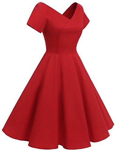Gardenwed Damen Vintage 1950er VAusschnitt Rockabilly Kleid ...