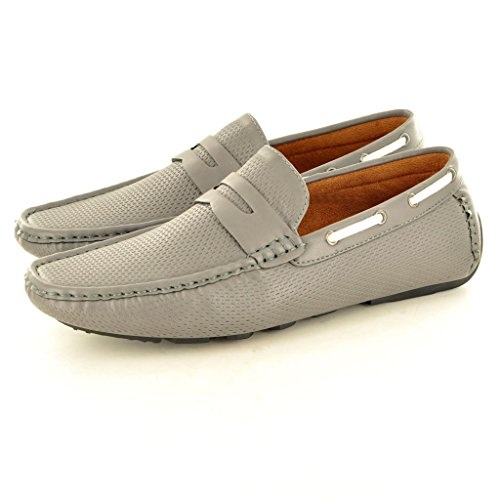 New Men s perforiertem Leder Look Casual Loafer Mokassins Slip auf Schuhe Grau