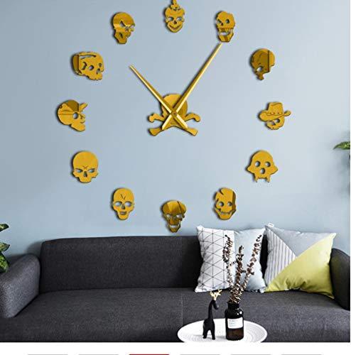nt Emoji Skull Heads 3D DIY Mute Wall Clock Halloween Party Home Decor Skeleton Acrylic Mirrors Surface Clock Watch47Cm ()