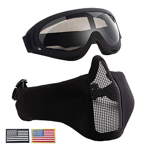 CARACHOME Paintball Maske Mit Funktion des Gehörschutzes, Outdoor Taktische CS Maske Mit Schutzbrille, Geeignet Für BB Gun Cosplay Kostüm Jagd Paintball,Black
