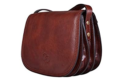 Genuine Italian Leather Classic Saddle Bag Style, Women's Crossbody Bag, Shoulder Bag, Handbag
