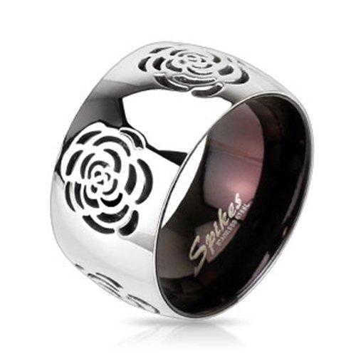 Anello in acciaio inox Rose diamanti BlackAmazement ltext Two Tone bicolore IP Nero Band gotico, Acciaio inossidabile, 20, cod. R-10047-09