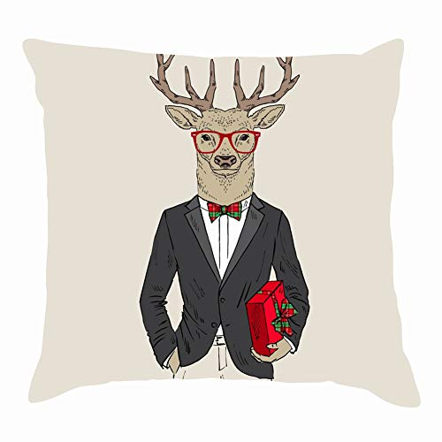 Merry Christmas Deer Dressed Tuxedo Gift Animals Wildlife Beauty Fashion Throw Pillow Covers Cotton Linen Cushion Cover Cases Pillowcases Sofa Home Decor 18