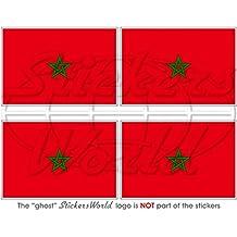 """Marruecos Bandera de Marruecos africana 2""""(50mm) bumper-helmet de vinilo pegatinas, calcomanías x4"""