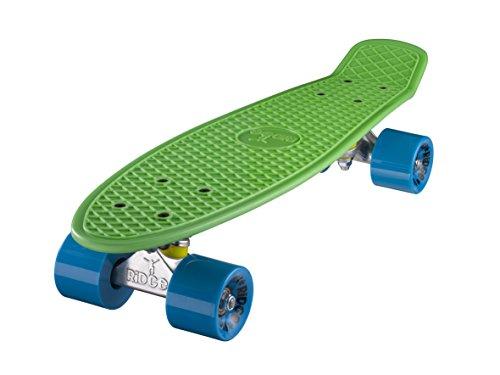 Ridge Retro 22 Cruiser Plastisches Skateboard Mini Cruiser in 58 Farben von Bret u Rollen 70er Styl Skate Board (Grün mit Blaue Rollen)