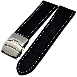 Uhrenarmband Glattleder Faltschließe 22mm schwarz + weisser Naht 3995