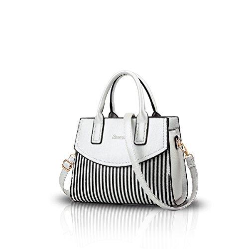NICOLE&DORIS Nuove donne / signore adattano la borsa del messaggero della borsa della spalla del Tote lavoro occasionale di vendita Borsa calda argento bianco argento bianco