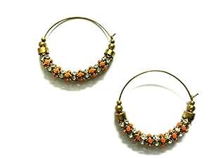 Golden Punjabi Jhumka with faux pearls and coloured rhinestones, Orange