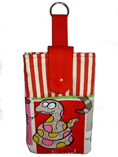 Universal Handytasche Handyhülle Handysocke mit Schlange und rot-weißen Streifen - passend für Geräte = ca. 14,1cm x 8,2cm x 1cm - Handarbeit