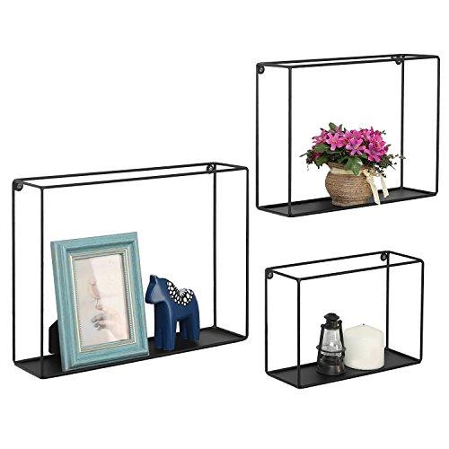 Moderne Metall Draht Rahmen Shadow Boxen, Deko Draht Cube Wandboards, Set 3, Schwarz -