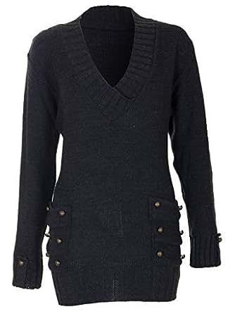 f624b0d277b7c Love My Fashions® Womens Ladies Full Length 14 Buttons V-Neck Knitted  Jumper Dress S M L XL 8 10 12 14