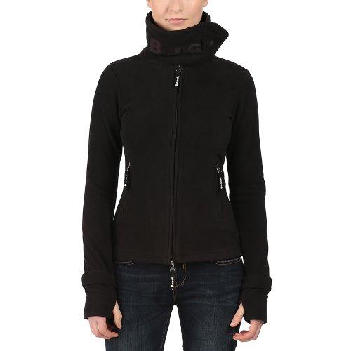 Neck Fleece Pullover (Bench Damen Sweatshirt Fleecejacke Funnelneck schwarz (Jet Black) Medium)