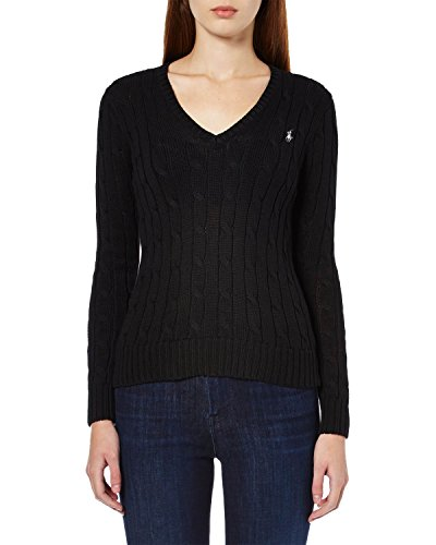 RALPH LAUREN - Damen Cable Knit pullover mit V-Ausschnitt - schwarz, L (Ralph Cable Sweater Knit Lauren)