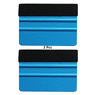 Anano Plastic Felt Edge Squeegee,2PCs Car Vinyl Film wrapping tools Blue Scraper for Wrapping Decal Squeegee Window Tint Work-4inch