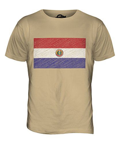 CandyMix Paraguay Kritzelte Flagge Herren T Shirt Sand
