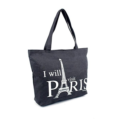 Transer Women Shoulder Bag Popular Girls Hand Bag Ladies Canvas Handbag, Borsa a spalla donna 30cm(L)*40(H)*10cm(W), Image A (Multicolore) - YHL60902187 Image B