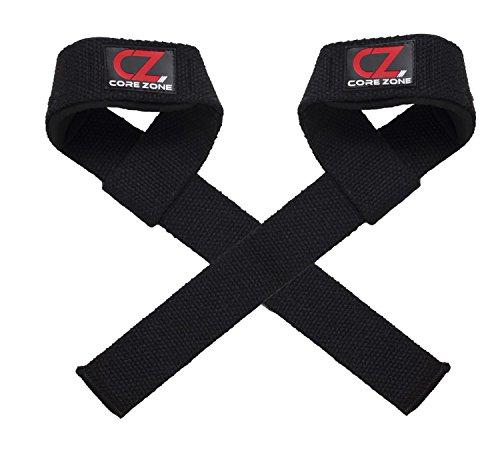 COREZONE Gewicht Zughilfen Gym Gepolstert Crossfit Handgelenkbandage Wraps Hand Bar-Training Workout Multi-Farbe Lang Gewichtheben Riemen, Schwarz