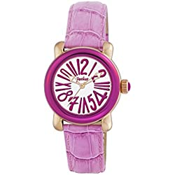 Pocket Women's Quartz Watch with White Dial Analogue Display and Pink Leather Strap PK1004