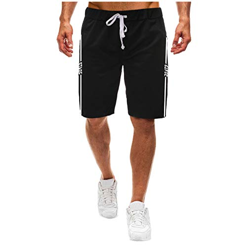 GreatestPAK Herren Multi-Pocket Shorts Einfarbig Spleißen Baumwolle Neu Strandhose,Schwarz,EU:S(Tag:L)