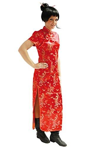 ROT KURZARM Gr. XL Asia Kleid Drachen Chinakleid Kleid Kimono Asia Style Geisha Qipao Karneval Damenkostüm Köstum