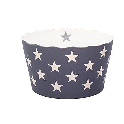 Medium happy bowl, charcoal with stars 9,5 cm