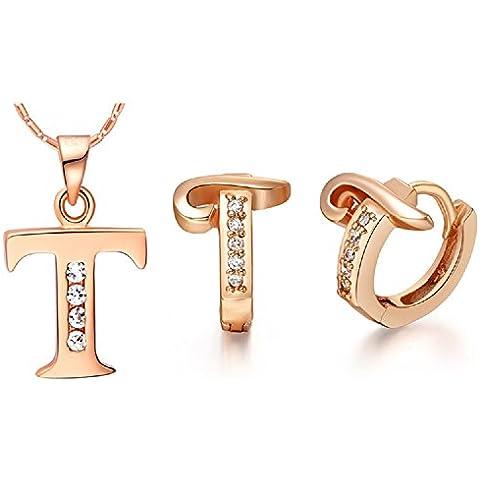 Bling fashion 18K oro rosa placcato 26lettere lettera T collana e (Dragonfly 9 Accent)