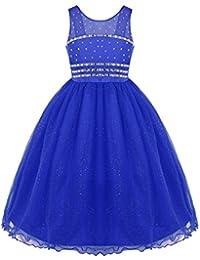 Agoky Vestidos de Fiesta Princesa Vestido con Tul Diamante Vestidos de Dama Ropa de Boda sin