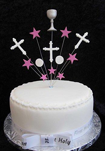 Fait à la main Gâteau de communion avec Calice, centres, hôte et étoiles Idéal pour un gâteau de 20 cm – Rose et Blanc Plus X 1 x 22 mm satiné communion ruban avec nœud