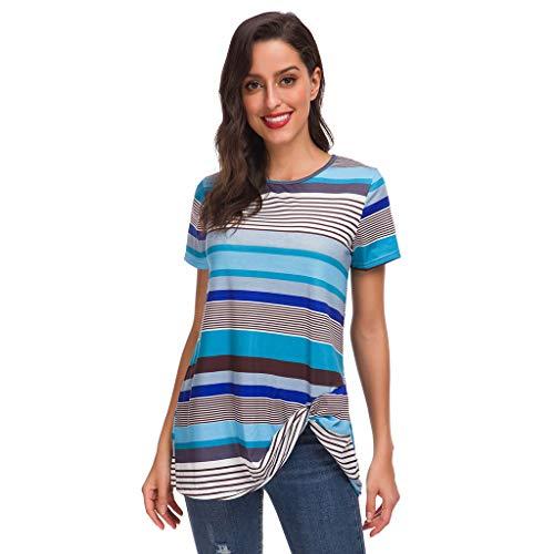 Zegeey Damen T-Shirt Kurzarm Rundhals Gestreift Streifen UnregelmäßIge Sommer Bluse Tops Oberteil Tunika Hemd Shirts Pullover(Blau,EU-34/CN-S)