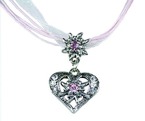 Herz Trachtenkette Davina mit kleinem Edelweiß - Rosa