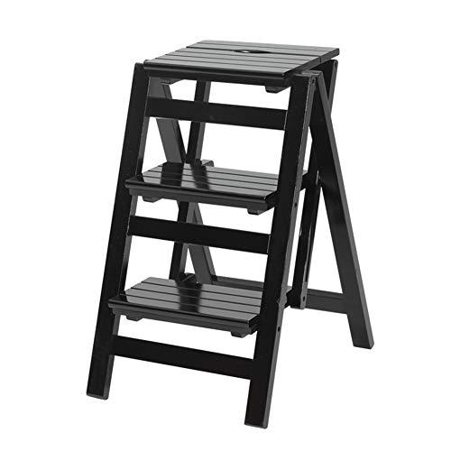 ZEMIN Pliable Tabouret Échelle Escalier 2/3/4-step Meubles Simple Qualité Ménage Étagère Bois, 4 Couleurs 3 Tailles (Couleur : A, Taille : 3-42x54.5x68cm)