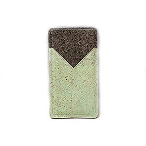 Handytasche aus Filz mit mintfarbenem Kork, passend für iPhone SE, 5, 5s und 5c